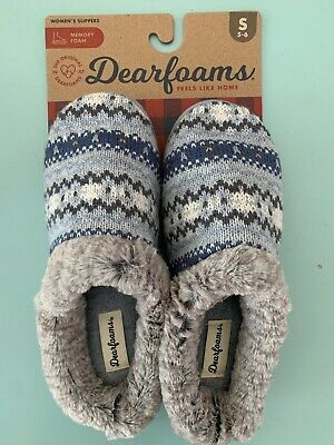 Dearfoams Knit Clog Memory Foam Slippers Women/'s Aubergine NWT