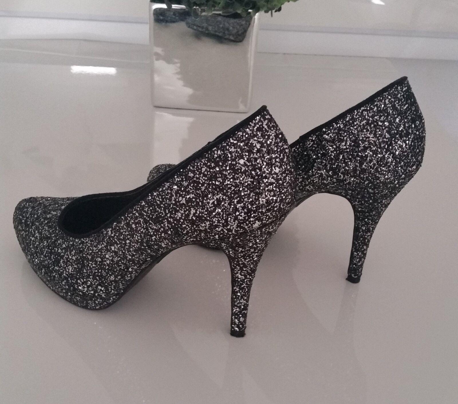 Sexy High Heels - Pumps - Gr. 41 Schwarz   Silber   NEU