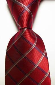 New-Classic-Checks-Red-Blue-White-JACQUARD-WOVEN-Silk-Men-039-s-Tie-Necktie