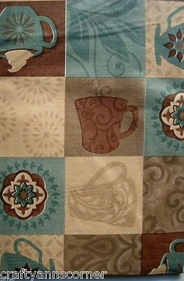 """Coffee Cups Brown Blue vinyl flannel back tablecloth 52"""" x 90"""" Oblong"""