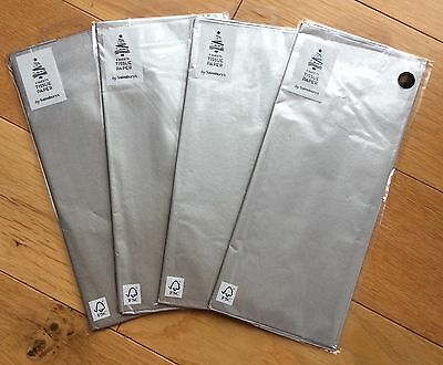 12 Sheets (4 Packs Of 3) Metallic Silver Luxury Tissue Paper Wrapping 50x70cm Een Grote Verscheidenheid Aan Modellen