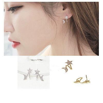 1 Pair New Korean Star Moon Ear Stud Women Elegant Crystal Rhinestone Earrings