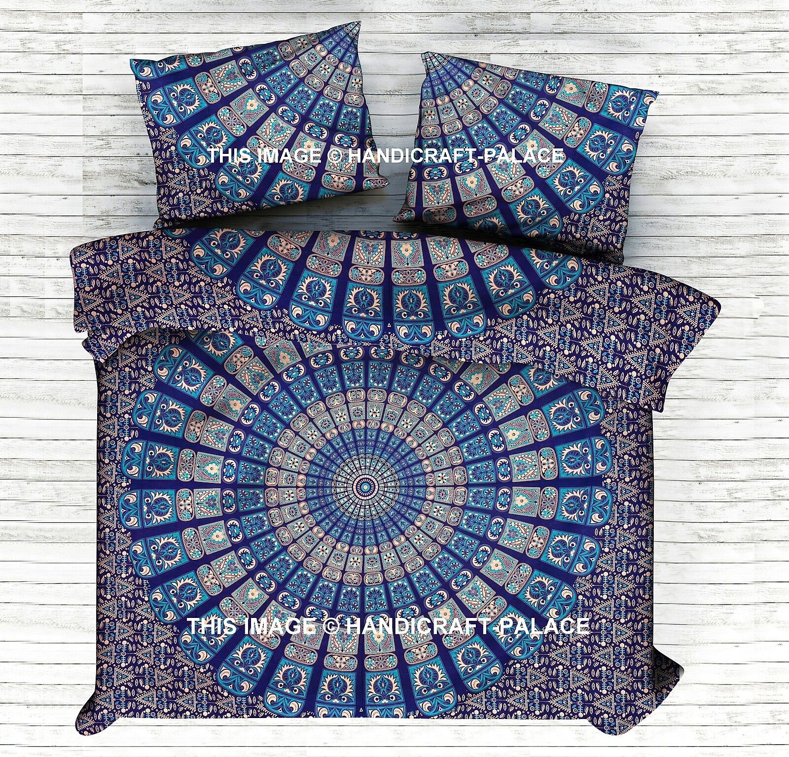 Mandala Indian Queen Bed Sheet Pillow Bedspread Cotton Bed Cover Ethnic Bohemian