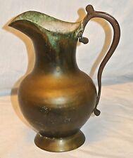 "Antique? Old Vtg Well Made Brass/Bronze/Pitcher/Vase/Verdigris Patina-8.25"""