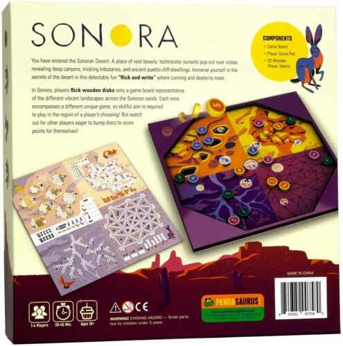 Sonora Flick /& Write Board Game Pandasaurus Games PAN 201908 Family Board Roll