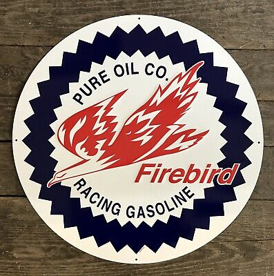 "FIREBIRD Pure Oil Co Racing Gasoline 24/"" Circular Embossed Tin Metal Sign"