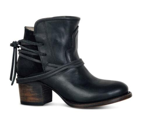 Retro Womens Casual Low Mid Chunky Heel Biker lace up Slouch Ankle Boots Shoes