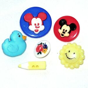 1 Lot De 6 Boutons Vintages Enfantins Plastique Mickey Canard Crayon Button
