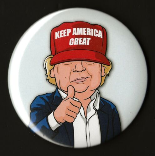 "Large Pin 08L // /""Cartoon/"" Presidential Campaign Button 2020 Donald Trump 3/"""