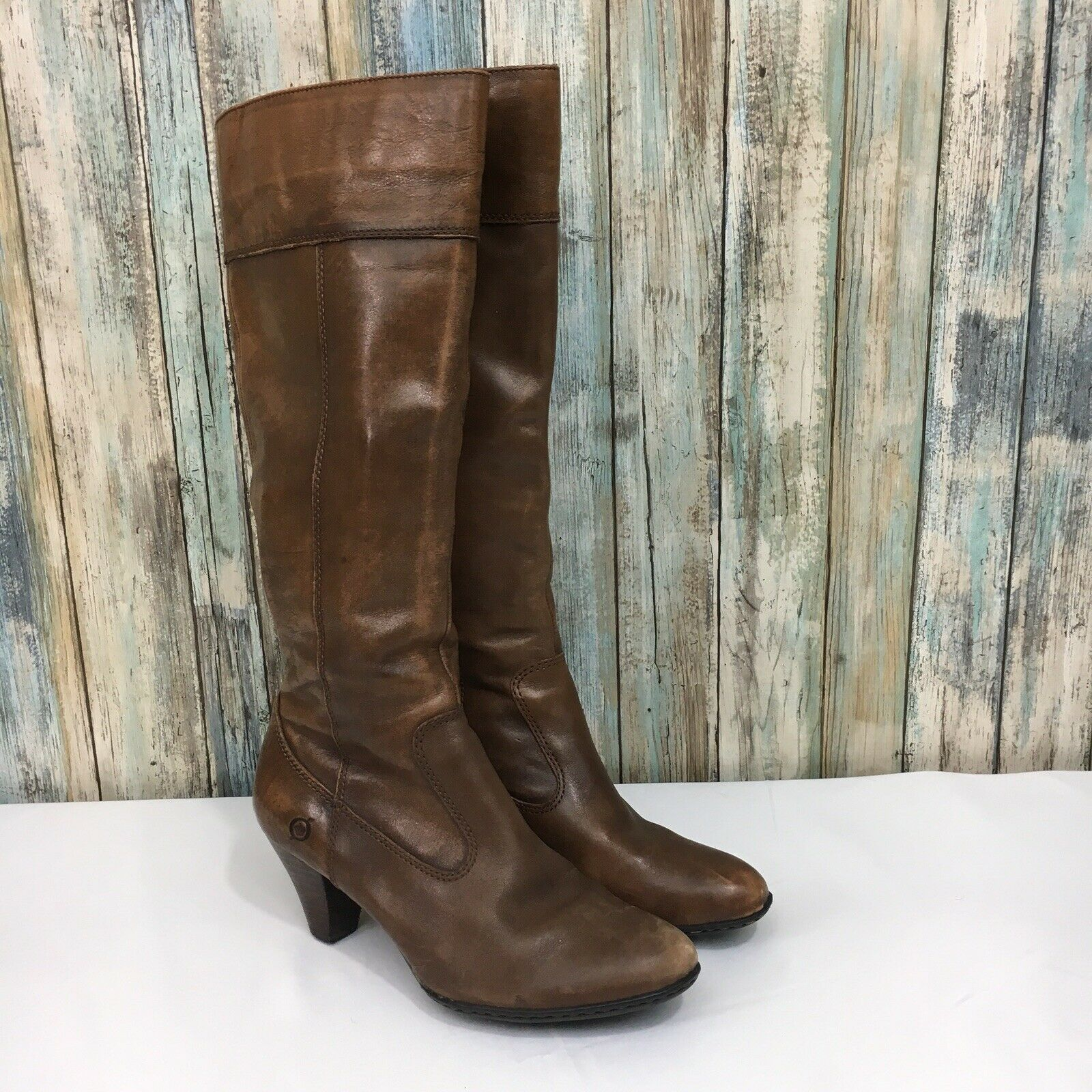 "Born Handcrafted Women's 7.5 38.5 Side Zip Brown Leather Heeled Boots 15"" Tall"