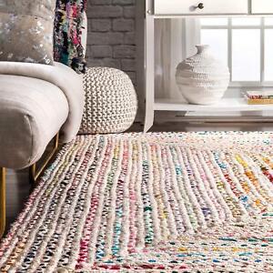White-Braided-Rectangle-Chindi-Area-Rag-Rug-Hardwood-Floors-Woven-Rug-2x6-034-Feet