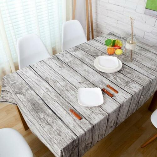 Natural Wood Grain Print Cotton Table Cloth Home Banquet Party Table Cover