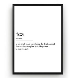 Tea Definition Poster - Kitchen Print Home Wall Art Decor Room Gift ...