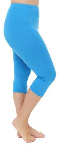 Womens Plus Size Stretchy Plain 3//4 Under Knee Crop Capri Leggings Pants 12-30