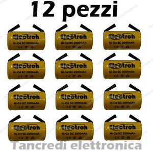 12-PEZZI-BATTERIA-RICARICABILE-NI-CD-SC-1-2V-2000mAh-22x42mm-A-SALDARE-NiCd-tabs