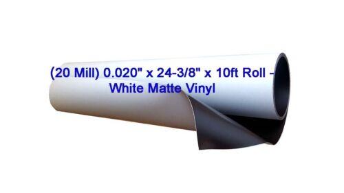 "Flexible Magnetic Sheet-White Matte Vinyl 0.020/"" x 24-3//8/"" x 10 ft 20 Mill"