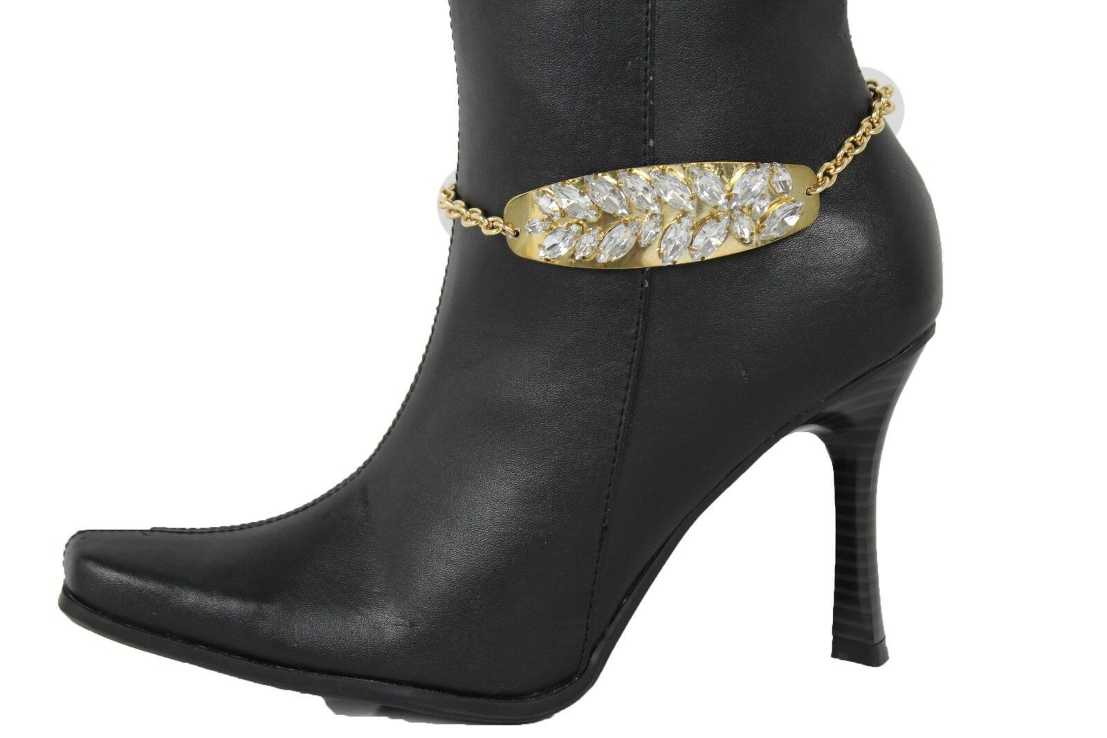 Women Western Boot Anklet Gold Chain Metal Western Shoe Silver Ring Bling Charm