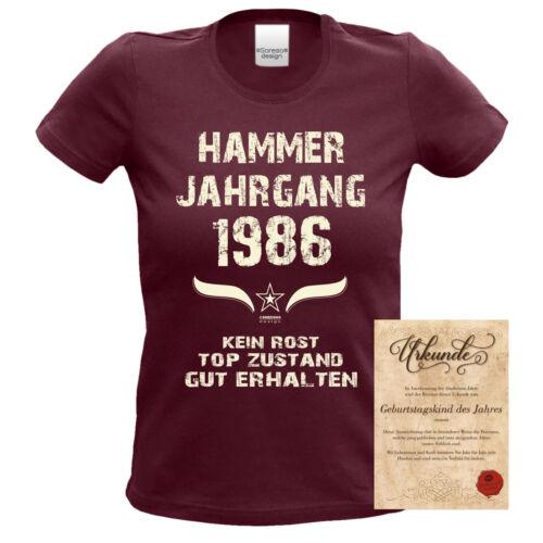 Damen T-Shirt /& Urkunde Hammer Jahrgang 1986  burgund Geburtstag Geschenk 31