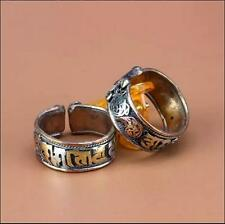 2pcs Adjustable Tibetan 3-color Copper Filigree Carved OM Mani Amulet Ring