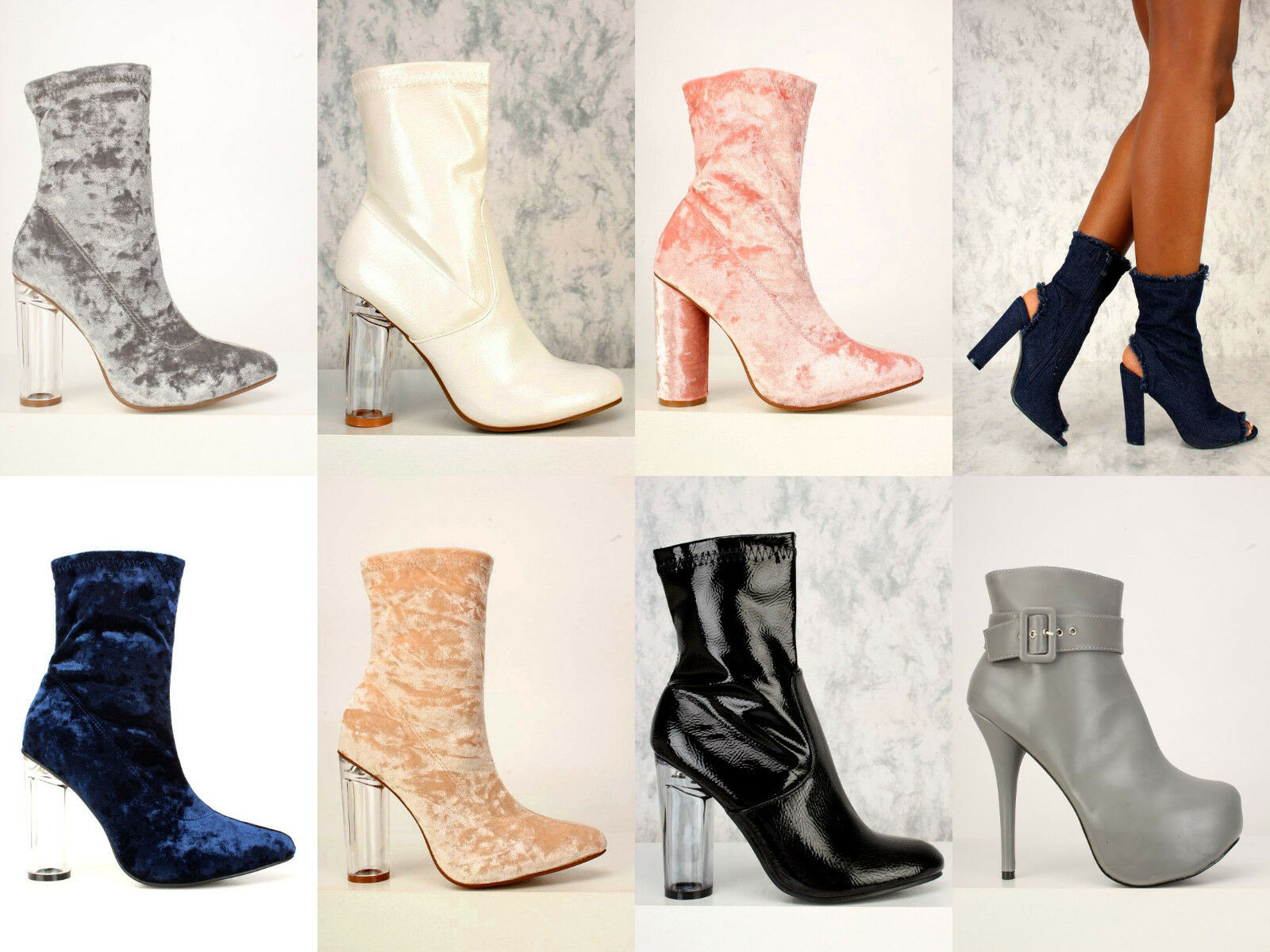 Sexy Lot Clear Chunky High Heels Ankle Ankle Ankle Booties Crushed Velvet Platform Boots 39a814