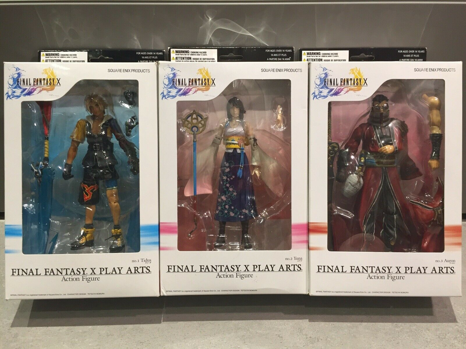 Final Fantasy 10 X Play ARTS action figure TIDUS YUNA AURON CIB box LOTTO