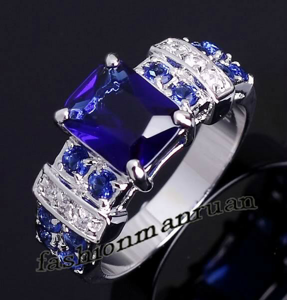 Dazzling  Sapphire & CZ silver Ring Size 6 7 8 9 10