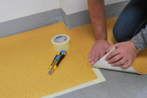 Tapis Linoleum Chiffon surfaces rugueuses double face lino sol ruban adhésif 50 mm