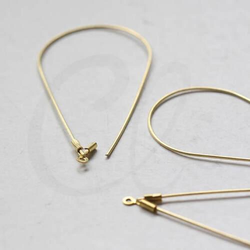 10pcs Raw Brass Brass Base Earring Hooks-Teardrop-Tear 54.4x25.6mm 3450C-L-155