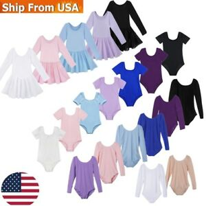 US-Kids-Gymnastics-Ballet-Dance-Leotards-Girls-Cotton-Dancewear-Sports-Dancewear