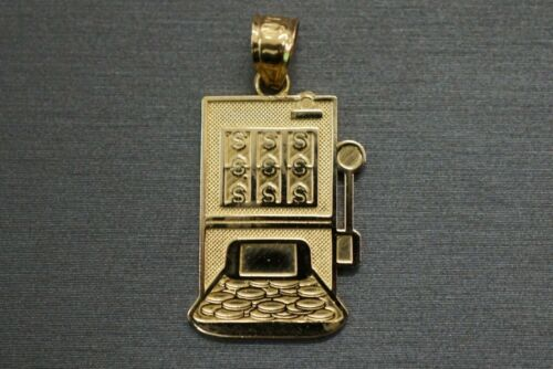 "Real 14K Solide Or Jaune 1/"" Casino Slot Machine Jackpot charme pendentif."