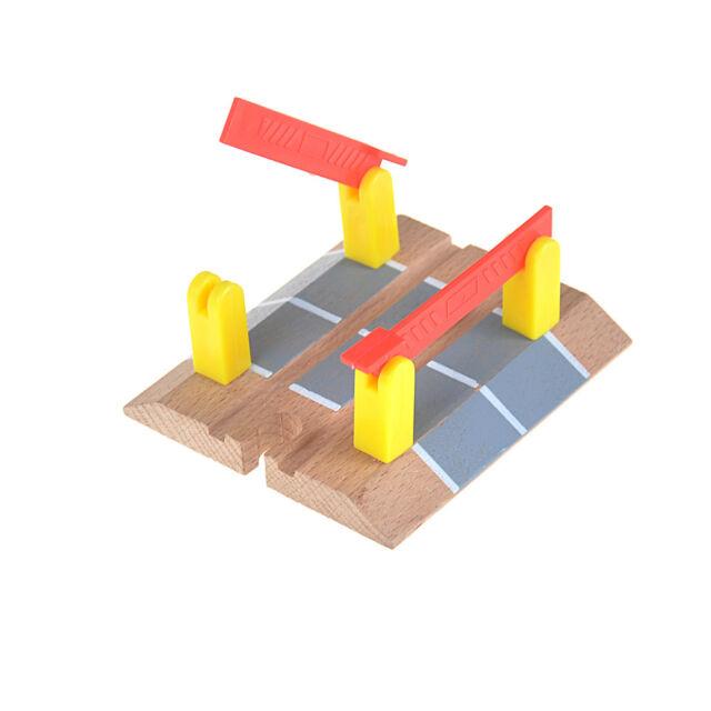 Wooden Railway Accessories Railroad Crossing Bridge Train Slot Track Toys G9A