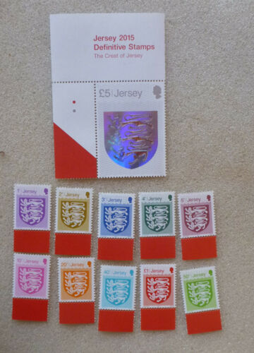 2015 JERSEY SET OF 11 DEFINITIVES CRESTS OF JERSEY MINT STAMPS