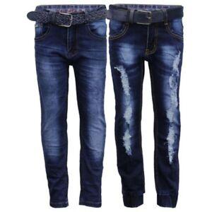 Boys-Dechire-Jean-Enfant-Pantalons-Fonds-Fashion-Gratuit-Courroie