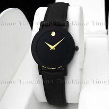 Women's Movado SAPPHIRE Vintage PVD Case Black Dial Leather Swiss Quartz Watch