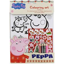 PEPPA PIG Navidad Coloración Set ~ 8 escenas + 4 lápices de colorear + calcomanías