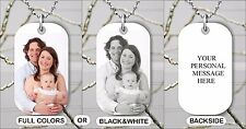 PERSONALIZED WITH YOUR PHOTO AND/OR TEXT CUSTOM DOG TAG FREE CHAIN -njo8Z