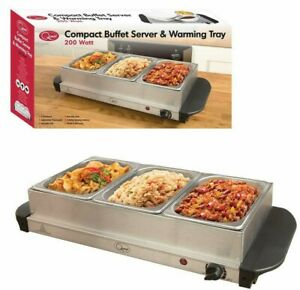 compact 200w large electric buffet server 3 warming trays hot plate rh ebay com electric buffet server argos electric buffet server set