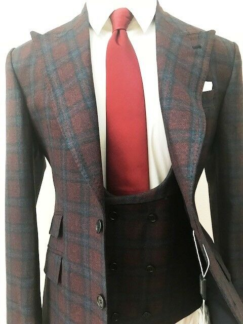 Burgundy/Blau super 150 winsor Cerruti double stitched peak lapel wool suit/vest