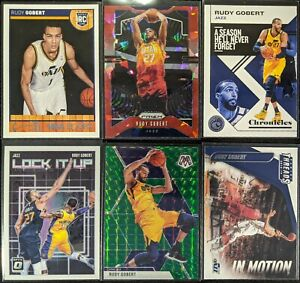 Lot-of-6-Rudy-Gobert-Including-NBA-Hoops-RC-Prizm-Red-Ice-Mosaic-amp-inserts