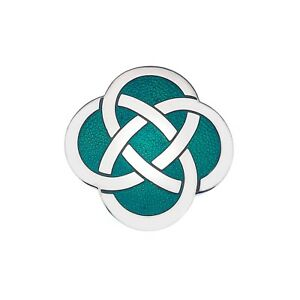 Celtic-Knot-Green-Brooch-Silver-Plated-Brand-New-Gift-Packaging