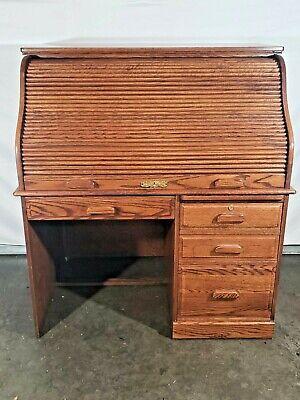 Vintage Winners Only Medium Oak Roll Top Desk With Original Skeleton Key Ebay