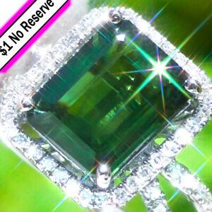 Sapphire-Ring-14K-GOLD-8-10ct-Green-Sapphire-Diamond-ESTATE-Engagement-Ring