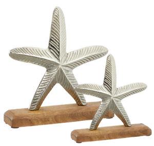 Seestern-auf-Holzsockel-Maritim-Aluminium-silber-Holz-used-look-versch-Groessen