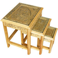 Oriental Furniture - Hand Carved Set Of 3 Nest Of Tables With Glass Top