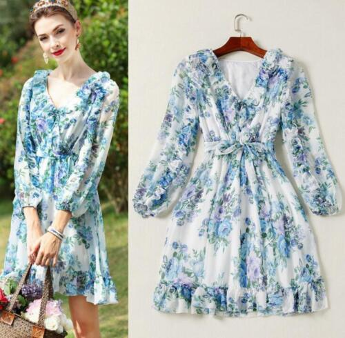 preferential Party style hot V-neck Lantern sleeve Sashes Print Floral dresses