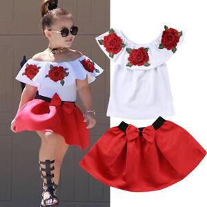 5aa48cc1afffb Details about 3D Rose Flower Kids Girl Off Shoulder Blouse Top Dress Skirt  Outfits Clothes Set