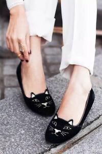 Women-Olympia-Kitty-Cat-Velvet-Flats-Loafers-Charlotte-Shoes-Black-amp-Gold-34-40