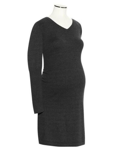 NEW Gap Maternity Sz XS or L Rib-sleeve cotton knit dress Charcoal Heather Gray