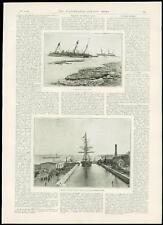 1889 Antique Print WRECK OF H.M.S. LILY - Halifax Graving Dock H.M.S. Canada (52