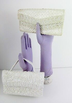 Vintage DuBarry Purse 1960s 2 White Beaded Clutch Evening Bag Hong Kong Prom